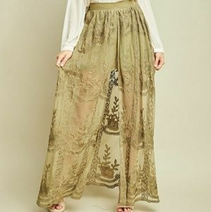 Dresses & Skirts - High Waist Shorts w/ Lace Maxi Skirt Overlay